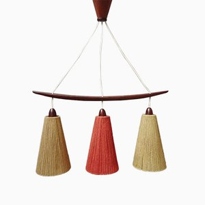Teak and Sisal Ceiling Lamp in Beige and Dark Red from Temde, 1960s