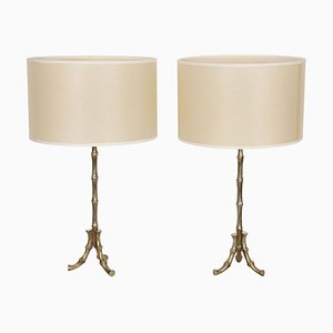 French Faux Bamboo Table Lamps, 1960s, Set of 2