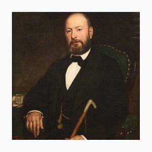 Antike italienische Malerei, Porträt eines Herrn, 19. Jahrhundert, Öl auf Leinwand