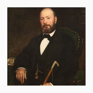 Pintura italiana antigua, retrato de un caballero, siglo XIX, óleo sobre lienzo