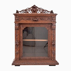 Antique Carved Display Cupboard, 1890s