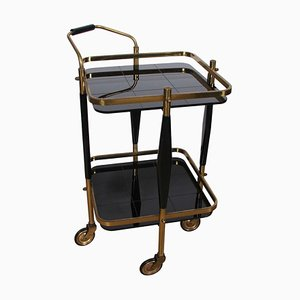 Small Italian Brass and Black Glass Trolley, 1950s