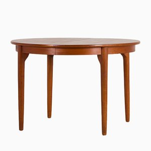 Danish Teak Round Extendable Table, 1960s