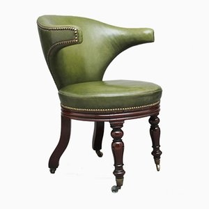 19th-Century Mahogany & Green Leather Desk Chair