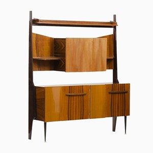 Italian Mid-Century Modern Rosewood Cupboard with Dry Bar