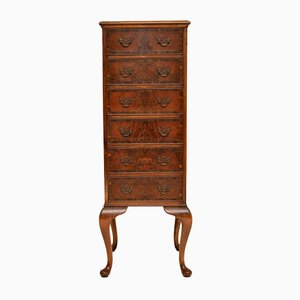 Antique Burr Walnut Tallboy Chest of Drawers