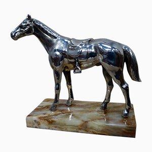 Scultura a forma di cavallo placcata
