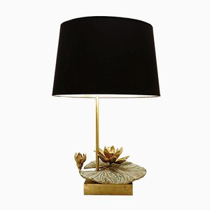 Nenuphar French Table Lamp in Brass and Bronze, 1970s
