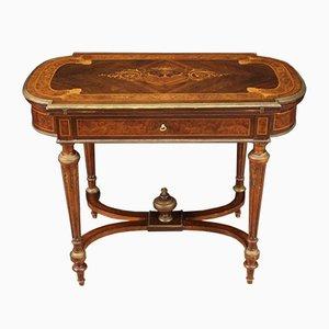 Französischer Spieltisch aus Holz mit Intarsien aus Holz, 19. Jh