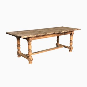 Rustic French Farmhouse Refectory Dining Table in Bleached Oak