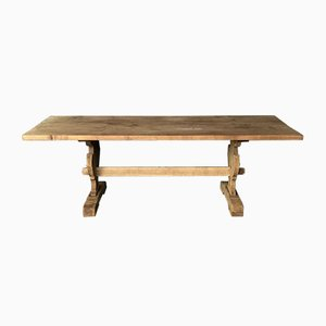French Trestle Bleached Oak Farmhouse Refectory Dining Table