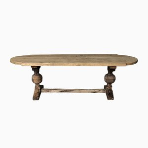 Large Rustic French Bleached Oak Farmhouse Refectory Dining Table