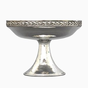 Arts & Crafts Planished Silver-Plated Tazza from AE Jones & Co.