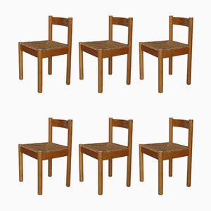 Italian Beech Dining Chairs, 1960s, Set of 6