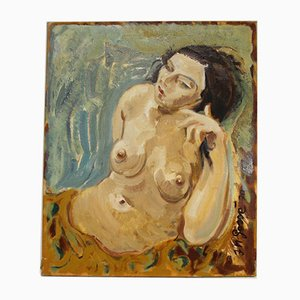 Nude Female Figure, Oil on Canvas