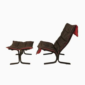Mid-Century Black Leather Siesta Chair and Ottoman by Ingmar Relling