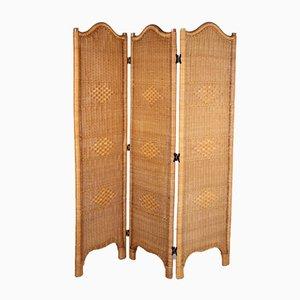 Divisorio o divisorio pieghevole vintage in vimini di bamboo