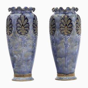 Antique Art Nouveau Stoneware Vases by Eliza Simmance for Doulton Lambeth, Set of 2