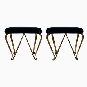 Golden Iron Benches by Pier Luigi Colli, 1960s, Set of 2