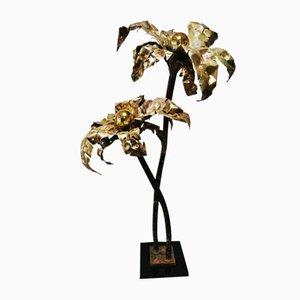 Vintage Palmen Lampe aus Messing