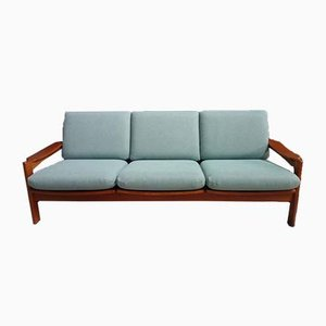 Danish Teak 3-Seater Sofa in Green Fabric, 1960s