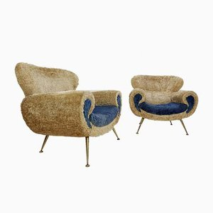 Italian Faux Fur Armchairs, 1970s, Set of 2