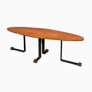 Italian Mid-Century Wooden Elliptical Coffee Table from Isa Ponte San Pietro, 1960s
