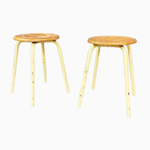 Mid-Century Italian Modern Industrial Metal and Wooden Stools, 1960s, Set of 2