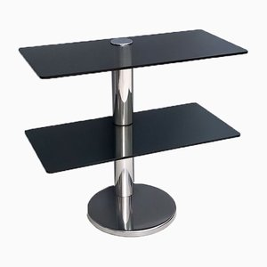 Chromed Metal Console Table with Two Dark Grey Glass Shelves, 1970s