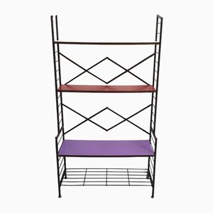 Italian Iron Shelf with Shelves in Purple, Red & Yellow Formica, 1960s