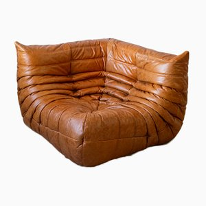 Vintage Pine Leather Togo Corner Sofa by Michel Ducaroy for Ligne Roset