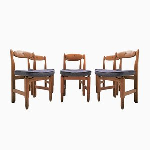Solid Oak Chairs by Guillerme et Chambron for Votre Maison, 1970s, Set of 6