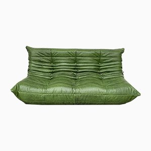 3-Seat Sofa in Forest Green Leather by Michel Ducaroy for Ligne Roset, 1980s