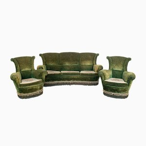 Velvet Sofa and Lounge Chair, 1950s, Set of 3
