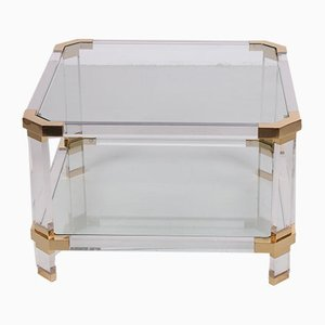 Vintage Lucite & Brass Coffee Table by Charles Hollis Jones, 1970s