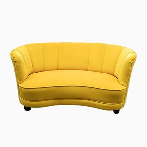 Mid-Century Danish Banana Curved Sofa in Yellow Velvet, 1950s