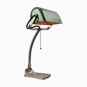 Lampada da scrivania vintage smaltata verde banchiere