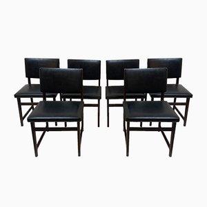 Chaises Noires, 1960s, Set de 6