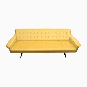 Mid-Century Chrome Sofa in Golden Sand Velvet, 1960s