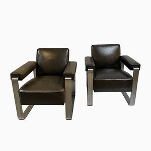 Brown Leather and Chrome Chairs, 1950s, Set of 2