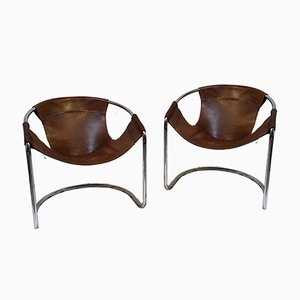 Cognac Leather Easy Chairs, 1970s, Set of 2