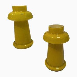 Lampade gialle, anni '70, set di 2