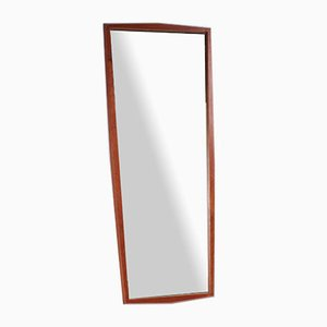 Large Vintage Danish Elongated Teak Mirror