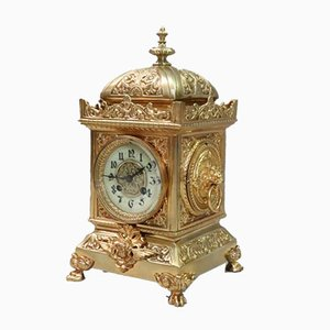 French Belle Epoque Decorative Brass Mantel Clock, 1900s