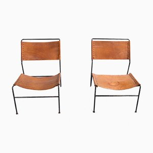 Saddle Leather Lounge Chairs by A. Dolleman for Metz & Co., 1962, Set of 2
