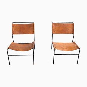 Sillones de cuero Saddle de A. Dolleman para Metz & Co., 1962. Juego de 2