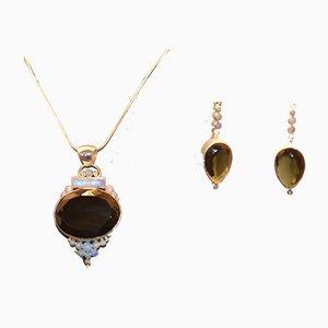 Collier et Boucles d'Oreilles Obsidienne et Opale Noires par Tipico pour Jutta Trenker, 1990s, Set de 3
