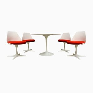 Mid-Century Tulip Dining Table & Chairs Set by Maurice Burke for Arkana, Set of 5