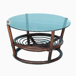 Round Rattan & Smoked Glass Coffee Table, 1970s