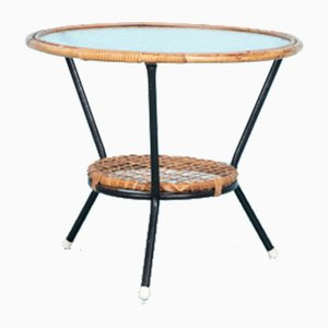 Round Rattan & Glass Coffee Table from Rohé Noordwolde, 1960s